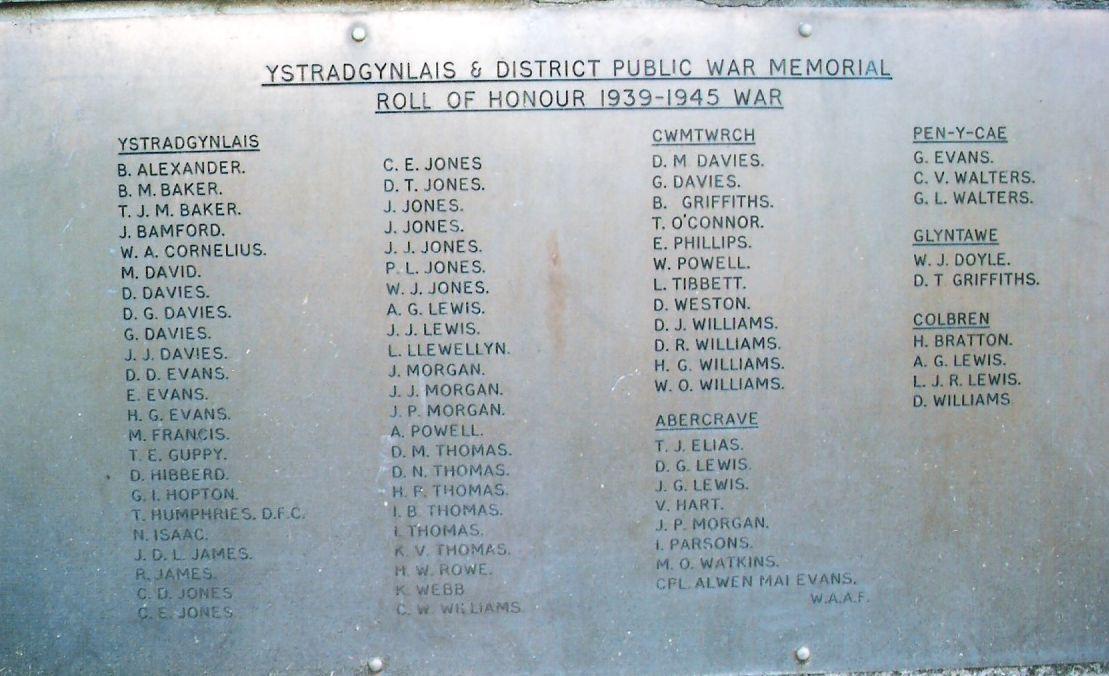 Ystradgynlais fallen of the Second World War (WW2)